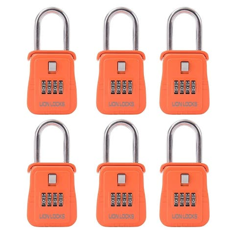 Lion Locks 1500 Key Storage Realtor Lock Box with Set-Your-Own Combination, (6 Pack, Orange)