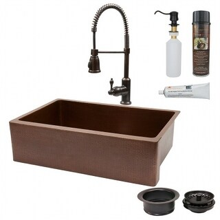Premier Copper Products KSP4-KASB33229 33 in. Antique Copper Hammered Kitchen Apron Sink with Spring Pull Down Faucet