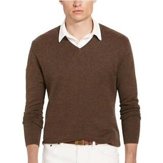 Polo Ralph Lauren Pima Cotton Herringbone V Neck Sweater Dark Brown X-Small XS