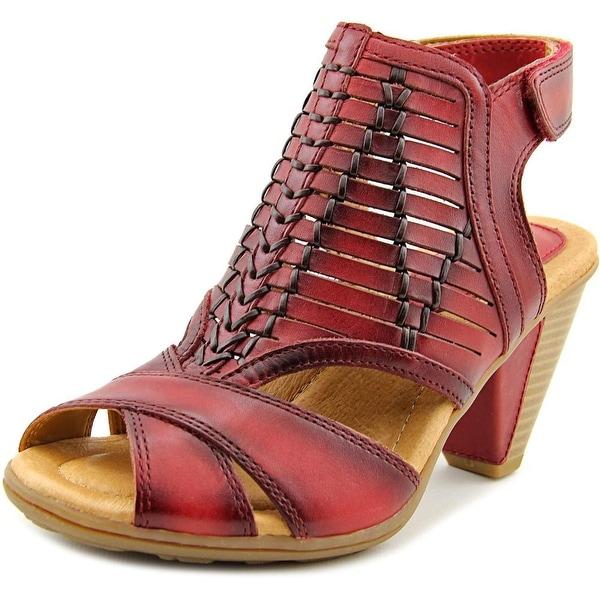 Earth Libra Women Open-Toe Leather Red Slingback Sandal