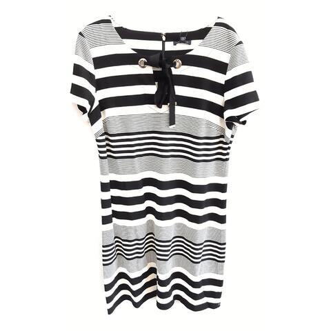 Tommy Hilfiger Striped Dress, Black/Ivory, 14