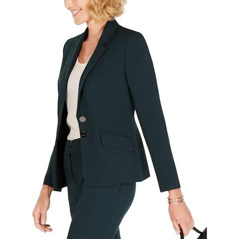 Kasper Womens Petites Two-Button Suit Jacket Crepe Stretch