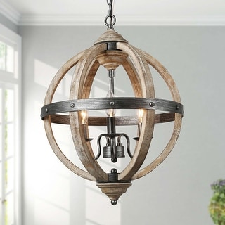 """Link to Vintage Antique Wood 3-light Globe Pendant Lighting Chandelier for Kitchen Island - W15.7"""" x H21.5"""" Similar Items in Chandeliers"""