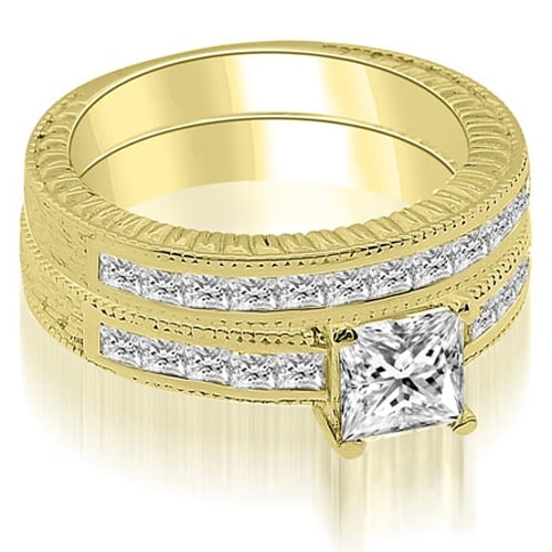 1.55 cttw. 14K Yellow Gold Antique Princess Cut Diamond Bridal Set