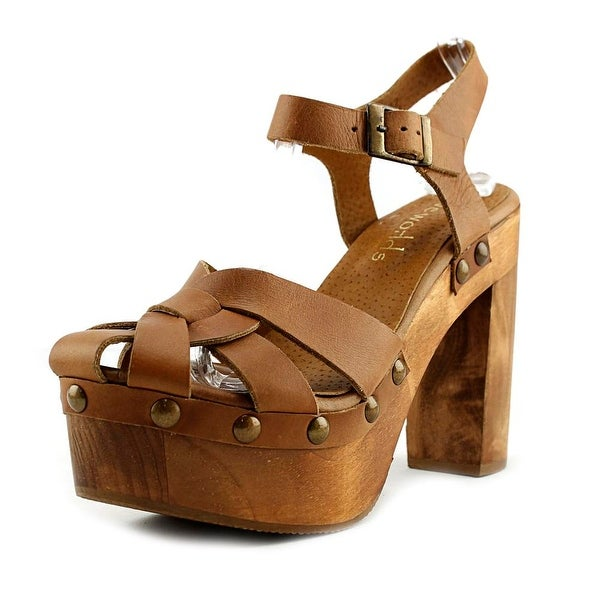 Five Worlds by Cordani Turi Women Open Toe Leather Tan Platform Heel
