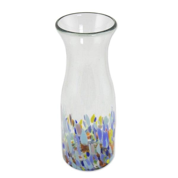 "NOVICA Handmade Confetti Festival Blown Glass Carafe (Mexico) - 9.5"" H x 3.5"" Diam.. Opens flyout."