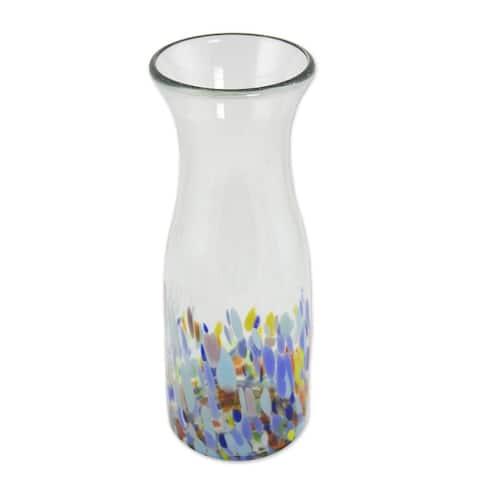 "Handmade Confetti Festival Blown Glass Carafe (Mexico) - 9.5"" H x 3.5"" Diam."
