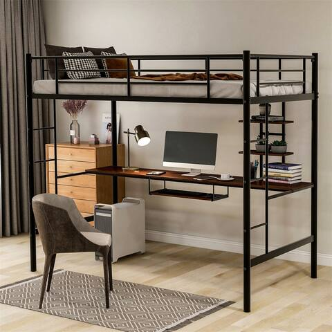 Merax Metal Twi/Full Loft Bed with Workstation Desk