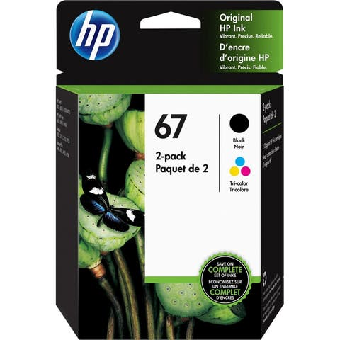 HP 67 Black / Tri-Color Original Ink Cartridges, Pack of 2 (3YP29AN) - black and color