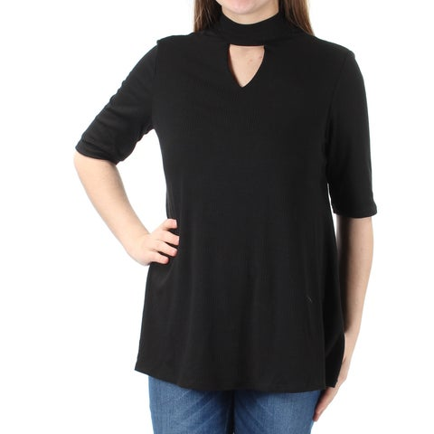 NY COLLECTION Womens Black Cut Out Ribbed Short Sleeve Crew Neck Top Size: S