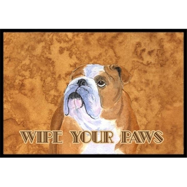 Carolines Treasures SS4893MAT 18 X 27 In. Bulldog English Wipe Your Paws Indoor Or Outdoor Mat