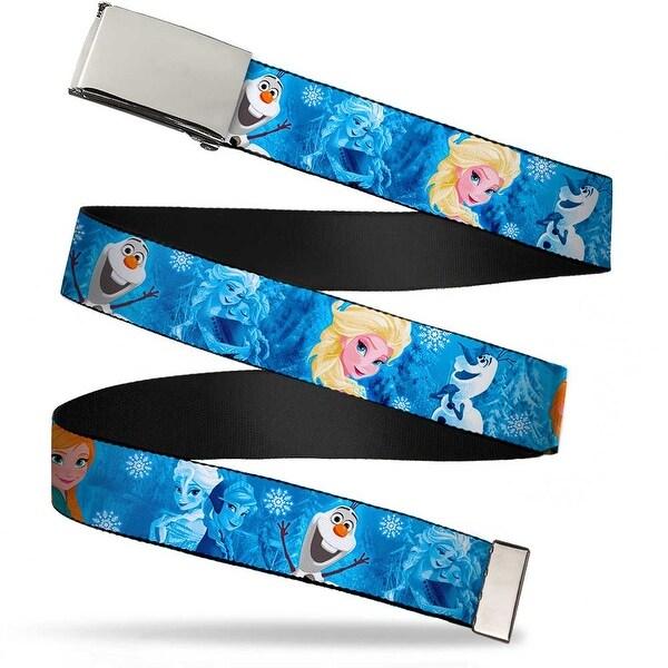 Blank Chrome Buckle Frozen Character Poses Blues Webbing Web Belt