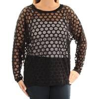 ANNE KLEIN Womens Black Long Sleeve Jewel Neck Top  Size: L