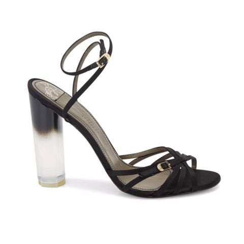 Versace Collection Women's Leather Lucite-heel Strappy Satin Sandals Black