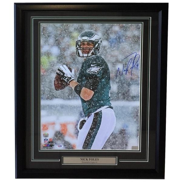 6a9fc827d5d Nick Foles Signed Framed 16x20 Philadelphia Eagles Snow Bowl Photo Fanatics +PSA