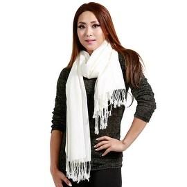 "Fringed Pashmina Silk Large Scarf, 27""x72"", White"