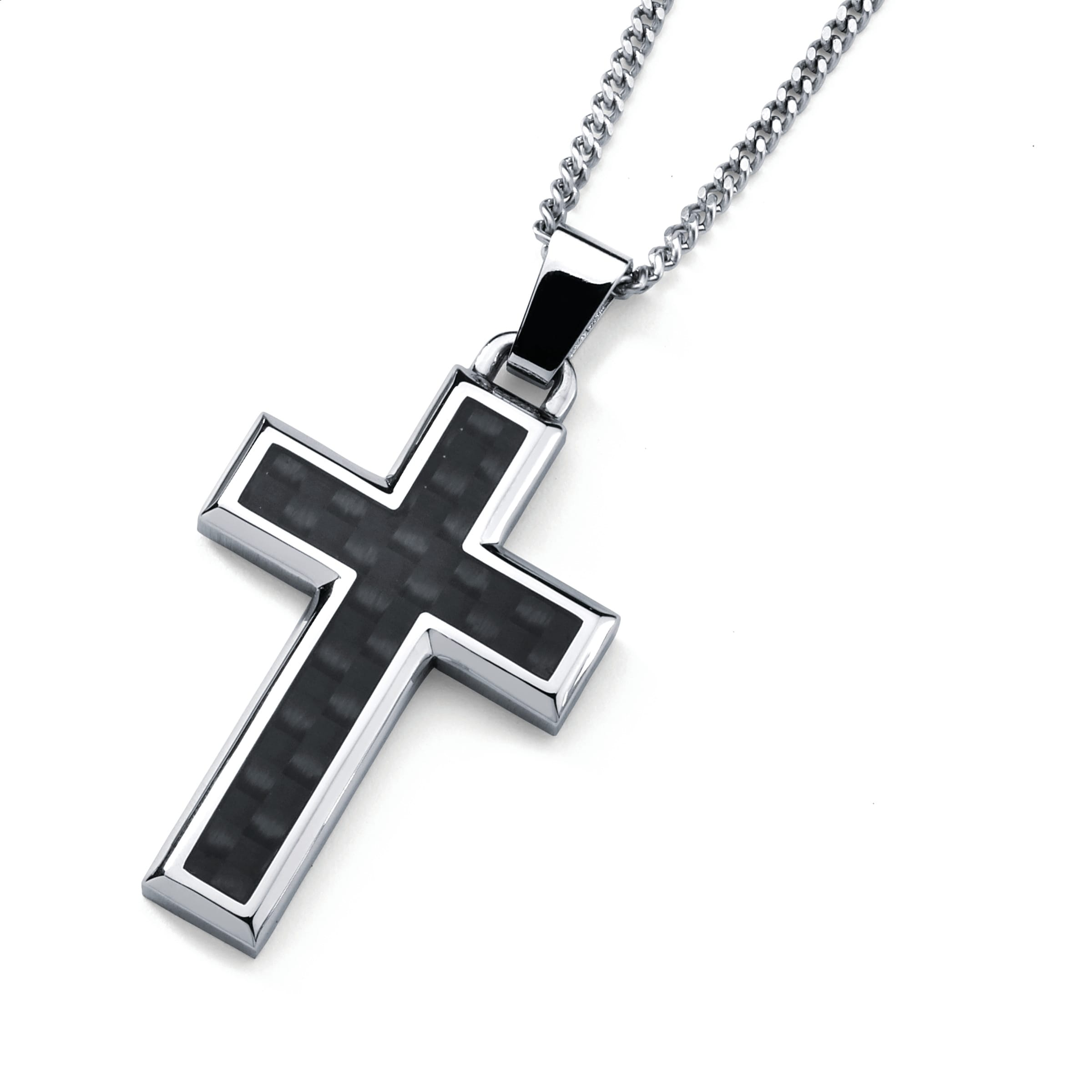 gifts for men son Stainless steel black rope chain AND black cross Necklace set for men husband Black jewelry father Buy 2 and save