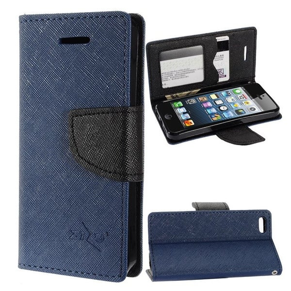 Insten Stand Folio Flip Leather Wallet Flap Pouch Case Cover for Apple iPhone 5/ 5S/ SE