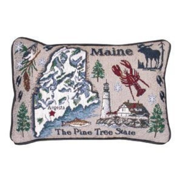"""Pack of 2 State of Maine """"The Pine Tree State"""" Decorative Throw Pillows 8"""" x 12"""""""