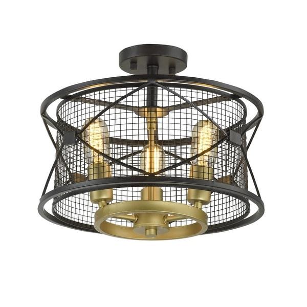 shop rogue decor 612600 harlequin 3 light 15 wide semi flush drum