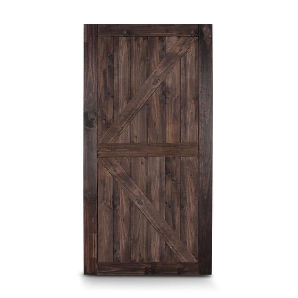 """BELLEZE 42"""" x 84"""" K-Frame Sliding Barn Door Natural Pine, Espresso - standard. Opens flyout."""