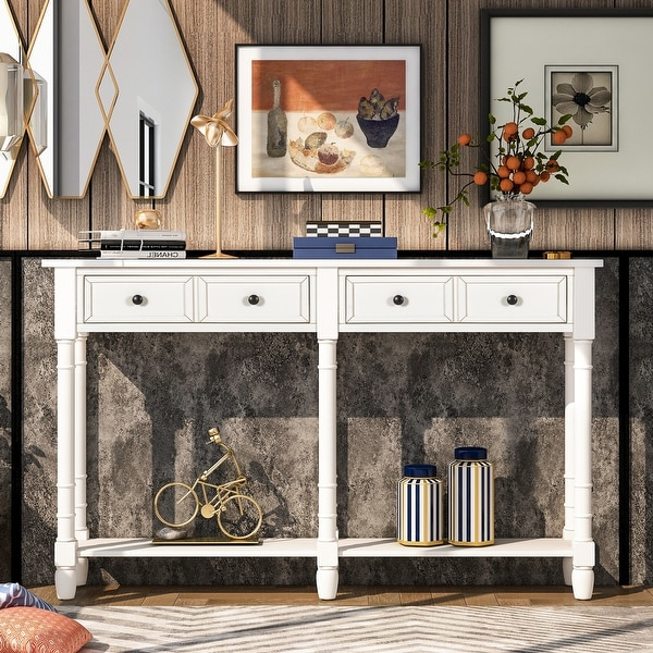 Ivory White Entryway Console Table with 2 Drawers and Bottom Shelf. Opens flyout.