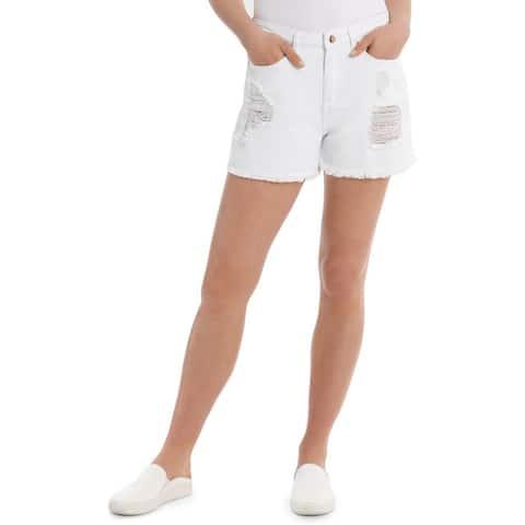 Express High Waisted Destroyed Stretch Denim Bermuda Shorts, White, 00