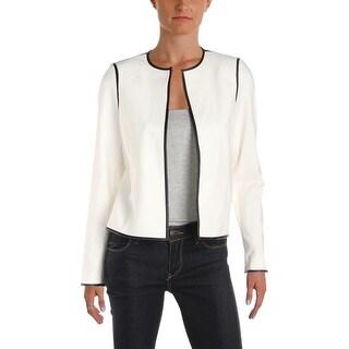 Calvin Klein Womens Petites Jacket Faux Leather Contrast Trim Long Sleeves