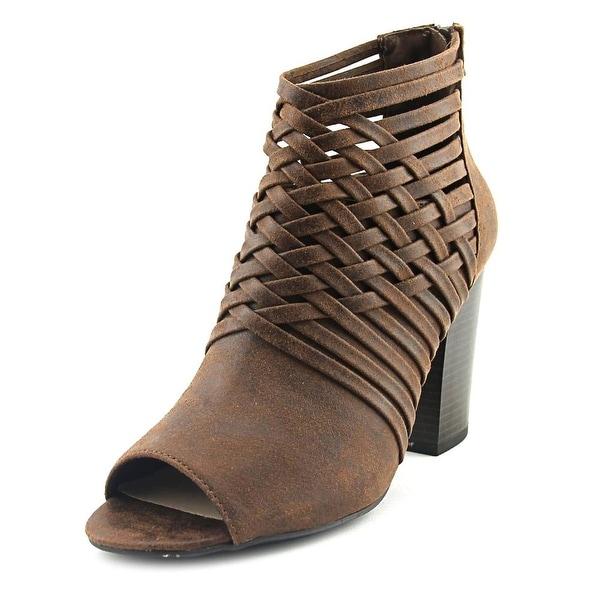 Fergalicious Jonah Women Peep-Toe Canvas Brown Ankle Boot
