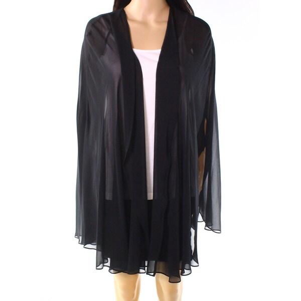 Tahari by ASL Deep Black Womens Size Large L Chiffon Cape Jacket