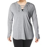 Nanette Lepore Womens Pullover Top Lace-Up Hooded