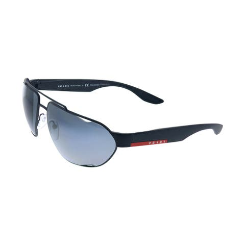 Prada Linea Rossa PS 56US DG05Z1 66mm Unisex Black Frame Grey Polarized Lens Sunglasses
