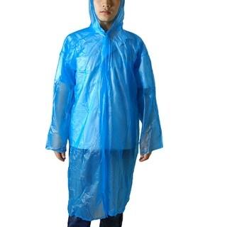 "42.5"" Length Unisex Long Sleeve Blue Plastic Raincoat"