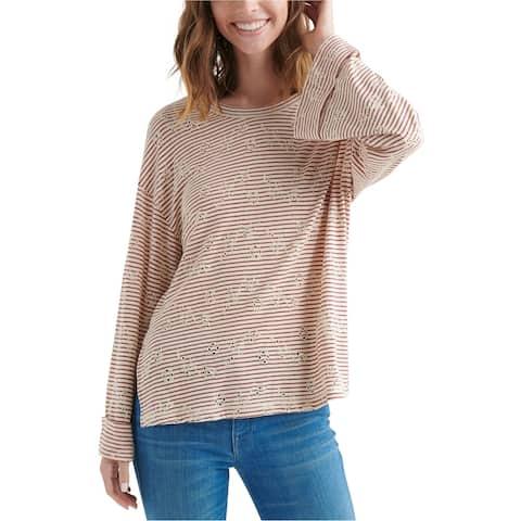 Lucky Brand Womens Eyelet Striped Basic T-Shirt