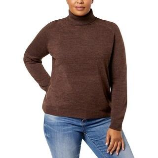 Karen Scott Womens Plus Turtleneck Sweater Knit Ribbed Trim