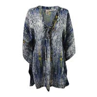 RACHEL Rachel Roy Women's Lace-Up Cover-Up Tunic - Grey Multi