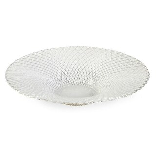 "15.75"" Round Elegant Textured White Glass Serving Bowl"