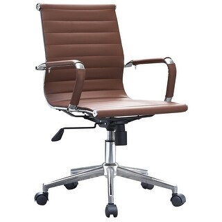 2xhome - Brown Modern Ergonomic Mid Back PU Leather Executive Office Chair Ribbed Swivel Tilt Conference Room Boss Home