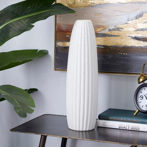 "Tall Speckled White Cylinder Vase, 5.5"" x 18"" - 5 x 5 x 18"