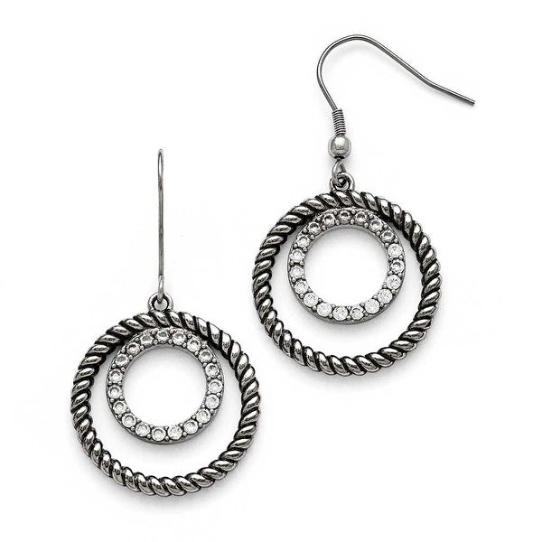 Chisel Stainless Steel Polished and Antiqued CZ Circle Dangle Earrings
