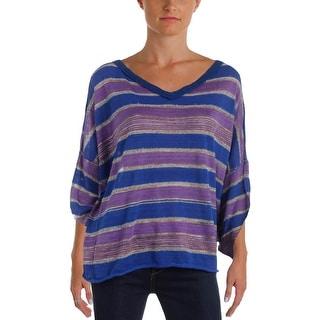 Free People Womens Pullover Sweater Metallic Striped