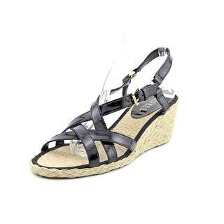 Lauren Ralph Lauren Chrissy Women Open Toe Patent Leather Black Wedge Sandal