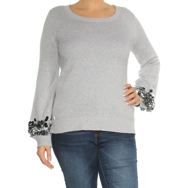f3b0d01a Shop MICHAEL KORS Womens Gray Sequined Scoop Neck Sweater Size: L - Free  Shipping On Orders Over $45 - Overstock - 28120694