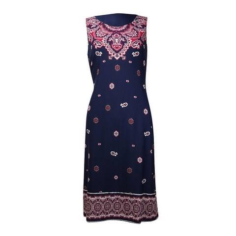 Charter Club Women's Scarf Print Knit Jersey Dress - Intrepid Blue Combo