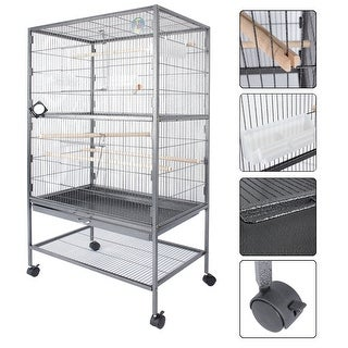 Fur Family Large Bird Cage Play Top Parrot Cage Door Tray, Gray