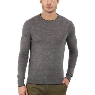 Michael Kors Tipped Merino Wool Crewneck Sweater Grey Melange X-Large - XL