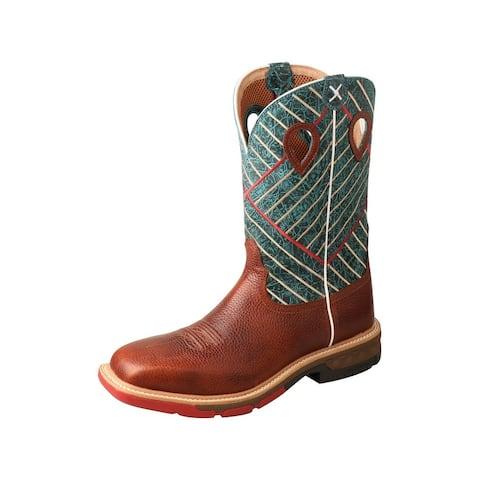 Twisted X Work Boots Men 12 Alloy Toe Leather Cognac Green - Cognac Dark Green