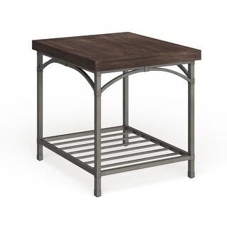 Franklin Rustic Brown Metal Tube Base End Table