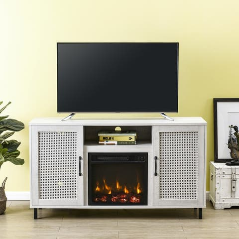 54 in. Saw Cut-off White Transitional TV Stand for TVs up to 60 in. with Electric Fireplace