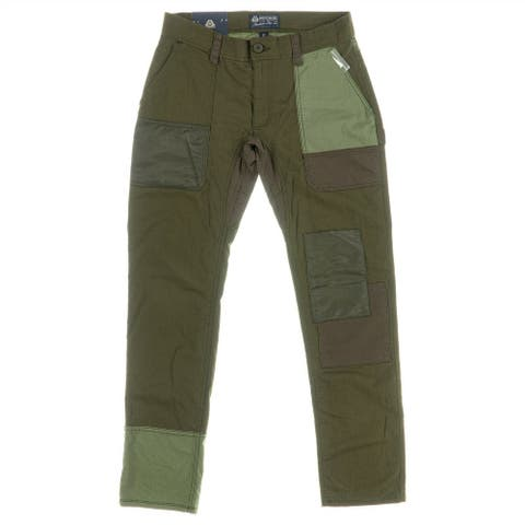 American Rag Mens Carpenter Pant Green Size 38x32 Patchwork Straight Fit